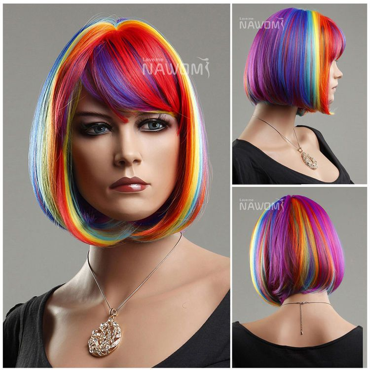 holiday hair styles bob bangs rainbow colorful fashion synthetic 2336 | 2336c1e9a04bad9a42115988f8196420