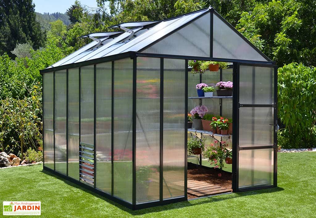 Serre De Jardin En Aluminium Et Polycarbonate Glory 8 9 M Avec Images Serre Arriere Cour Serre Jardin Maison Verte