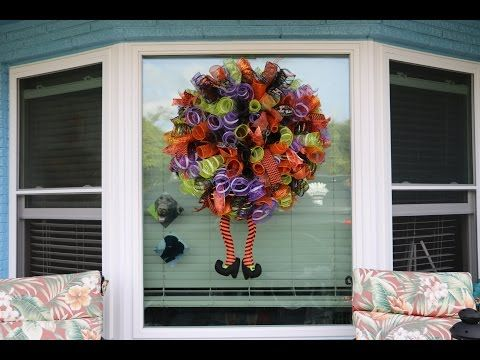 How to make and Extra large SPOOKTACULAR pouf ruffle method deco - how to make halloween decorations youtube