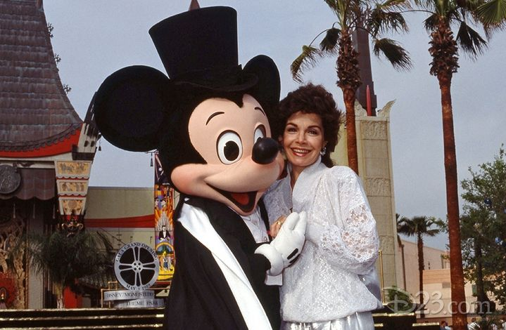 Annette and Mickey Mouse at the opening of the Disney-MGM  (now Hollywood) Studios, Disney World May 1, 1989.