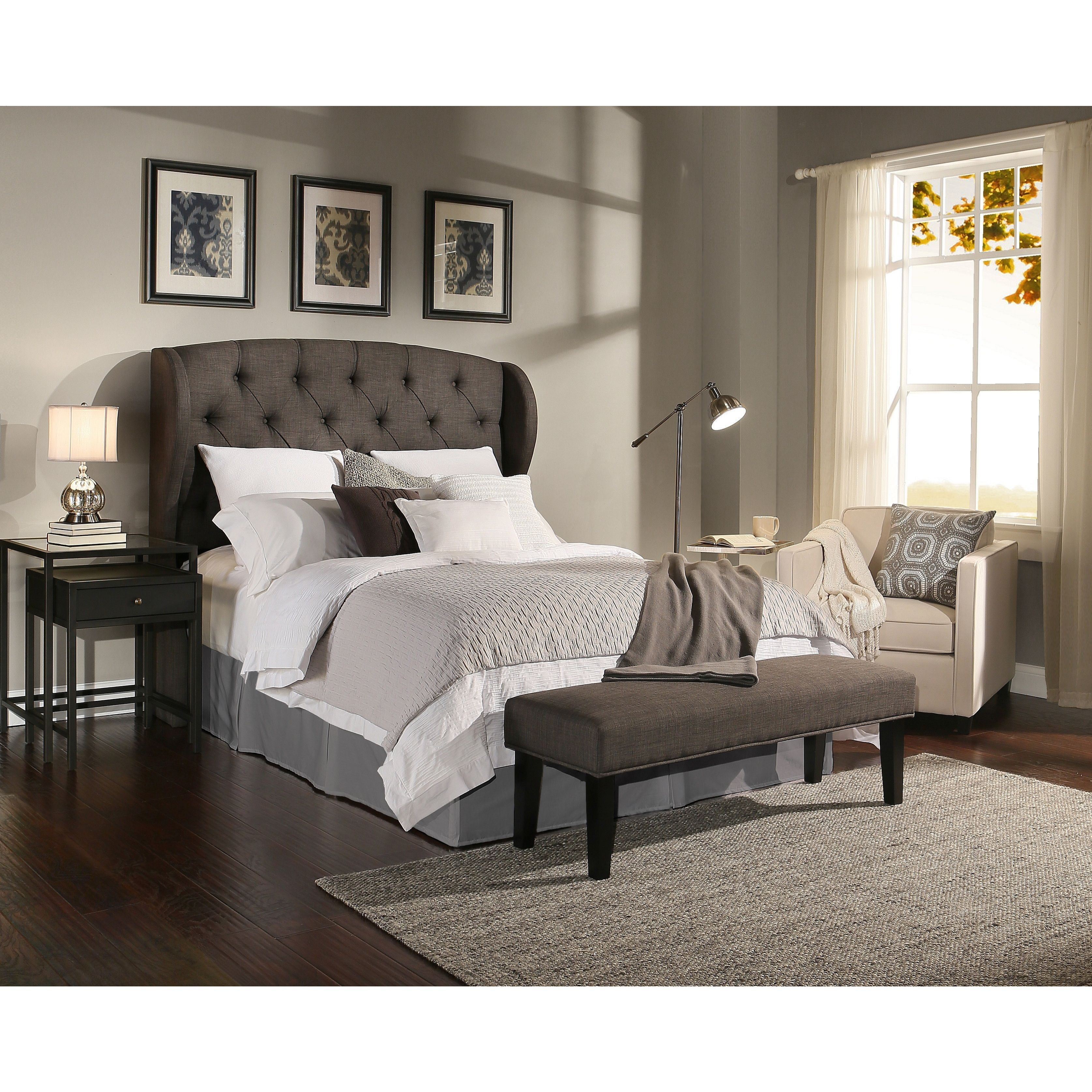 Republic Design House Archer Grey Tufted Upholstered Headboard ...