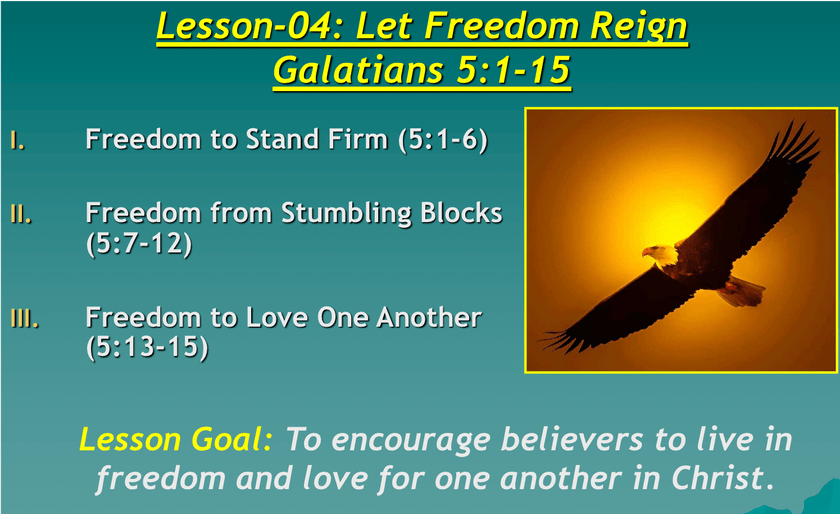 Galatians Lesson 04 Let Freedom Reign Summary Paul Encourages The Galatians To Hold On To Freedom Avoid Stumbling Blocks Let It Be Bible Teachings Reign
