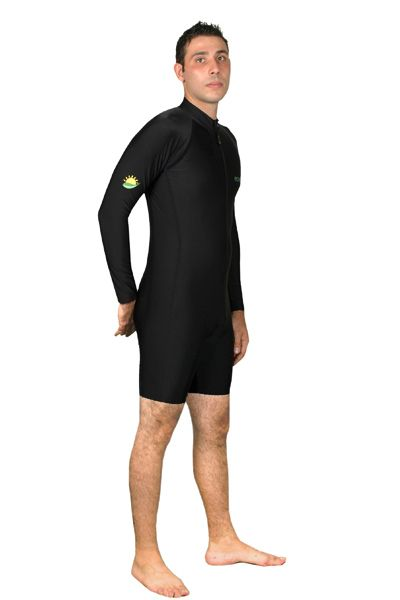 4c1054a3cd Men UV Protection Sunsuit Swimwear Long Sleeves UPF50+ Black (Chlorine  Resistant) - EcoStinger