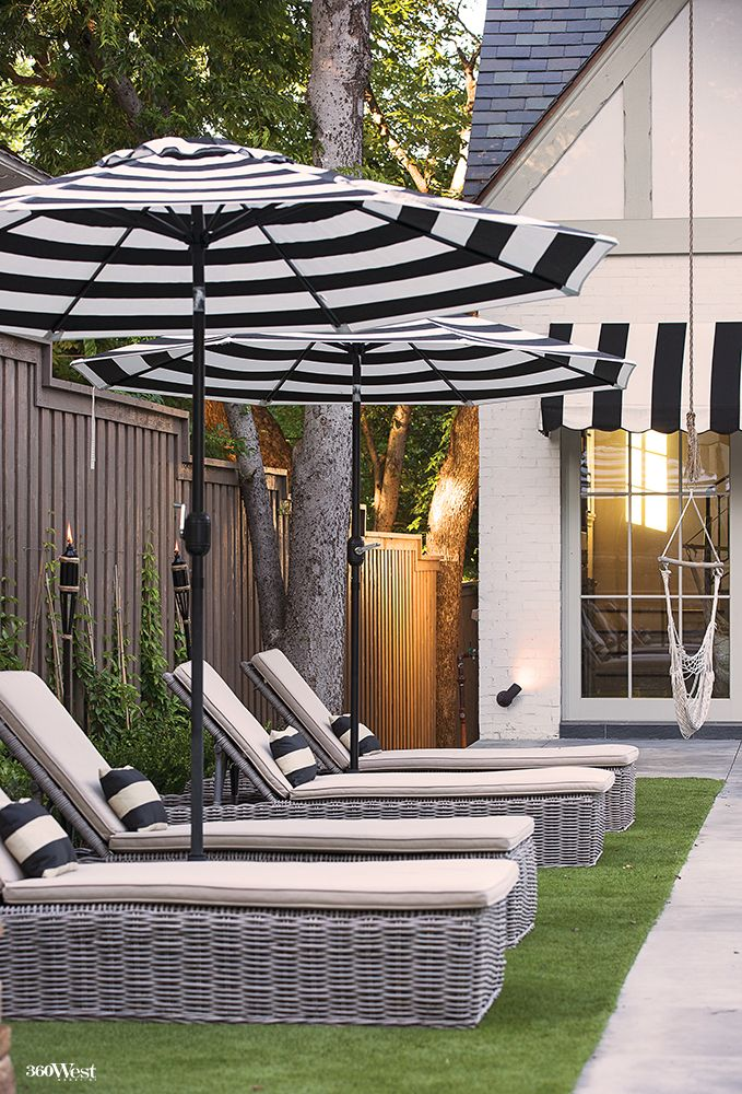 Coordinating Pool House Awnings With The Black And White Striped