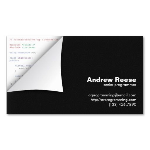 Curled Corner With Program Coding C Business Card Zazzle Com Business Cards Business Card Design Custom Business Cards