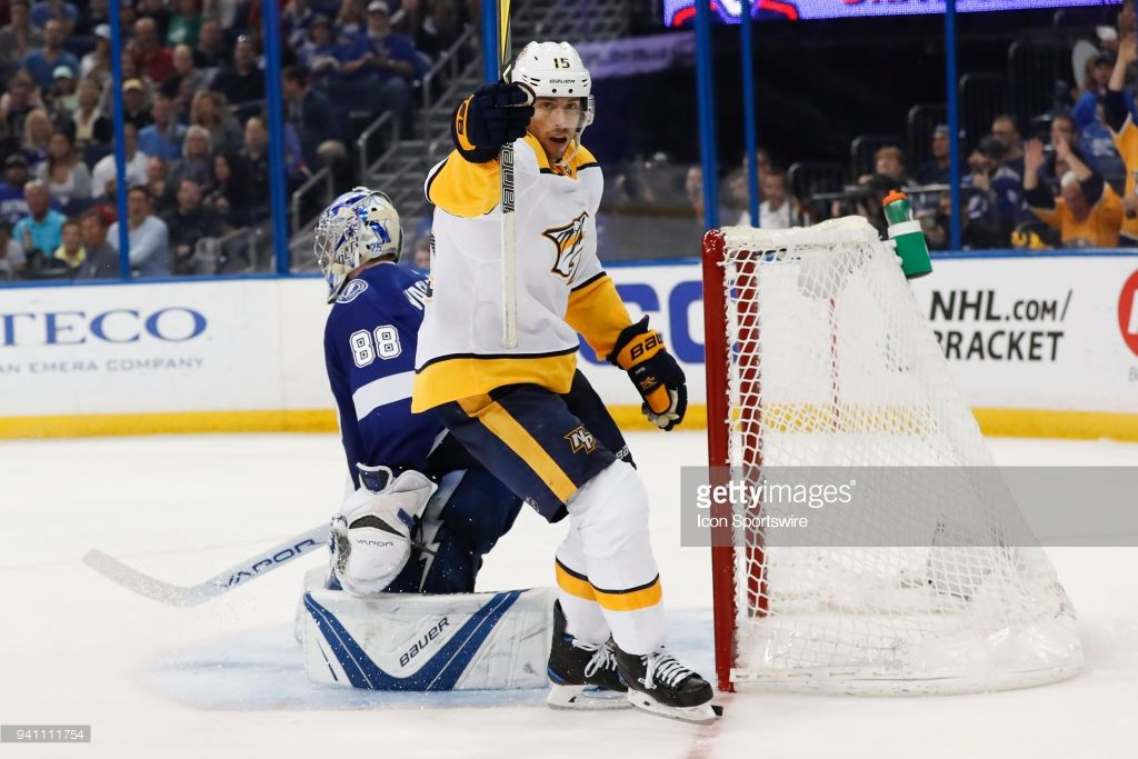 Nashville Predators right wing Craig Smith celebrates