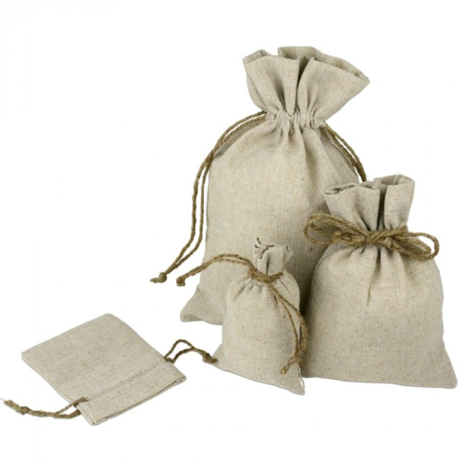 Linen Pouch Bags with Hemp Drawstring (12/pk) - 5 Sizes Available ...