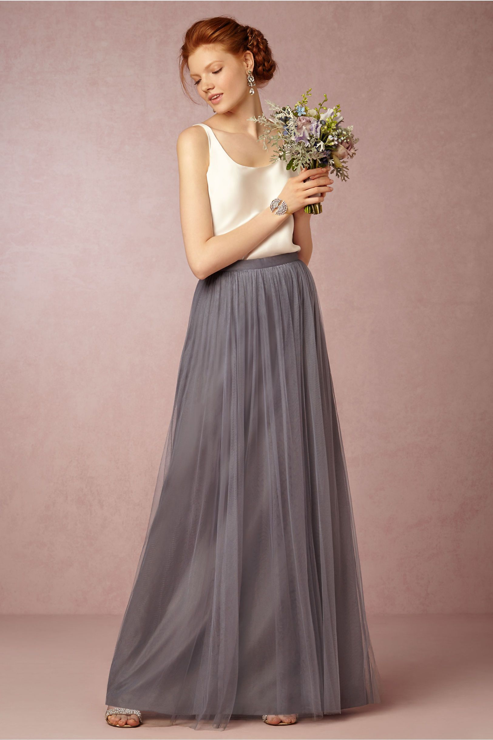 78f2f6fd9 bridesmaid skirt + topper separates | Louise Tulle Skirt in hydrangea from  BHLDN