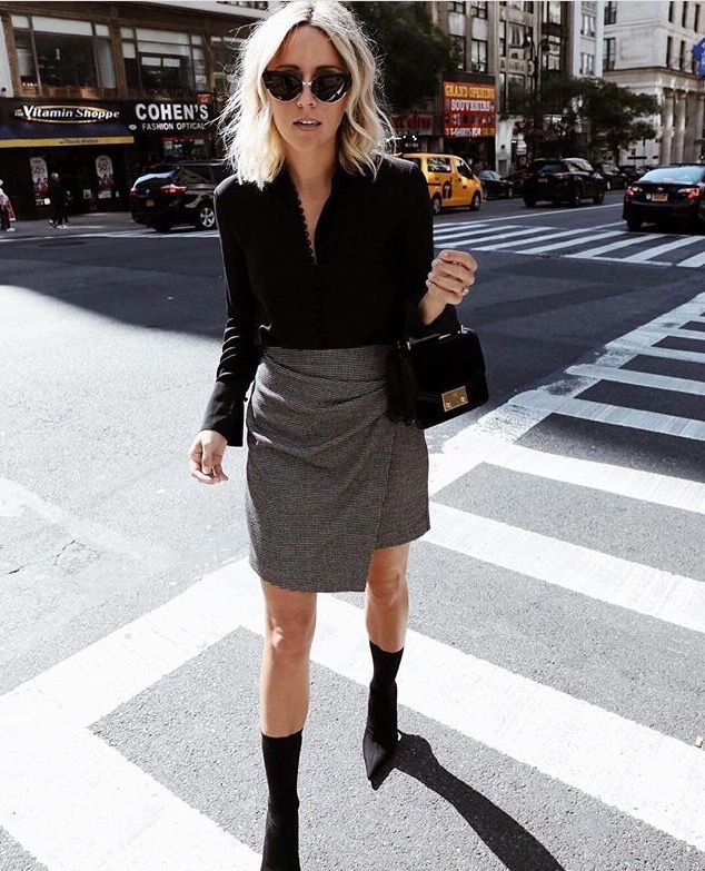 "5b83f814f9a0 In love with mid-calf pointed toe boots with a kitten heel (up to 4"" heels)  with a grey leather midi skirt"