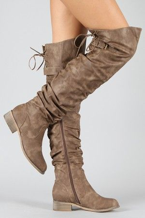 761b9ce145e Kiora-01 Slouchy Lace Up Riding Thigh High Boot