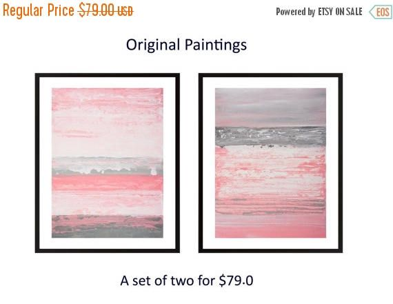 Awesome pink grey abstract painting Set of two original acrylic Beautiful - Simple grey pink paint Minimalist