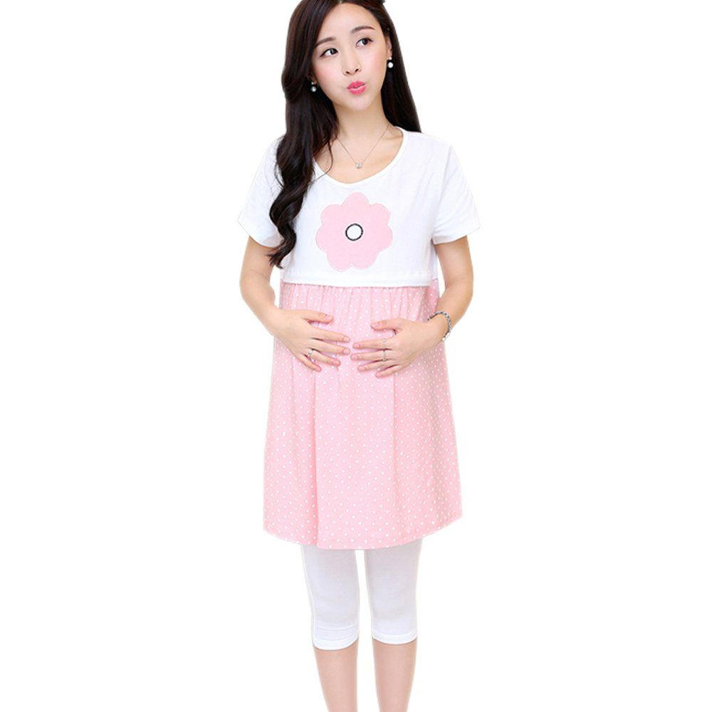 acc04c7607993 Maternity Outfits - oversized maternity dresses   XFentech Fashion Summer  Candy Color Maternity Nursing Short Sleeve Breastfeeding Dress Pink M --  Read more ...
