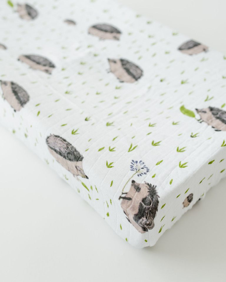 Muslin Changing Pad Cover, Hedgehog - Spearmint LOVE