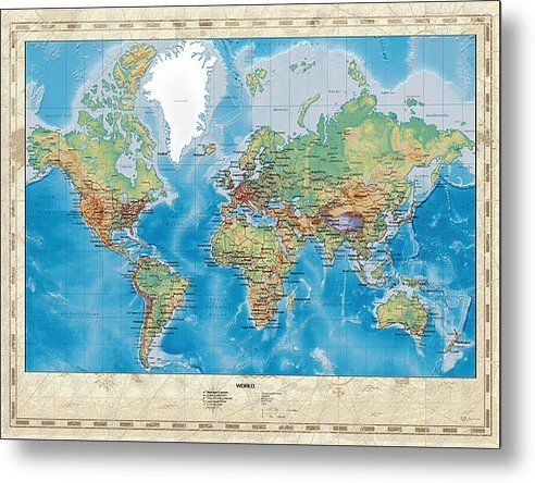 Huge Hi Res Mercator Projection Physical And Political Relief World ...