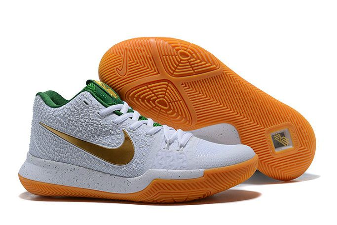 c81aa19121ff New Arrival Nike Zoom Kyrie 3 Mens Basketball Shoes White Gold Green Orange