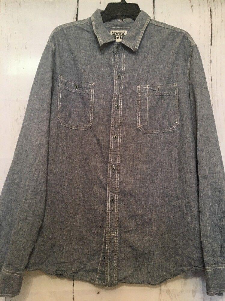 836c6dbcb936 Men s Converse Work Shirt Cotton linen Long Sleeve Button Up Shirt Men s XL  GUC