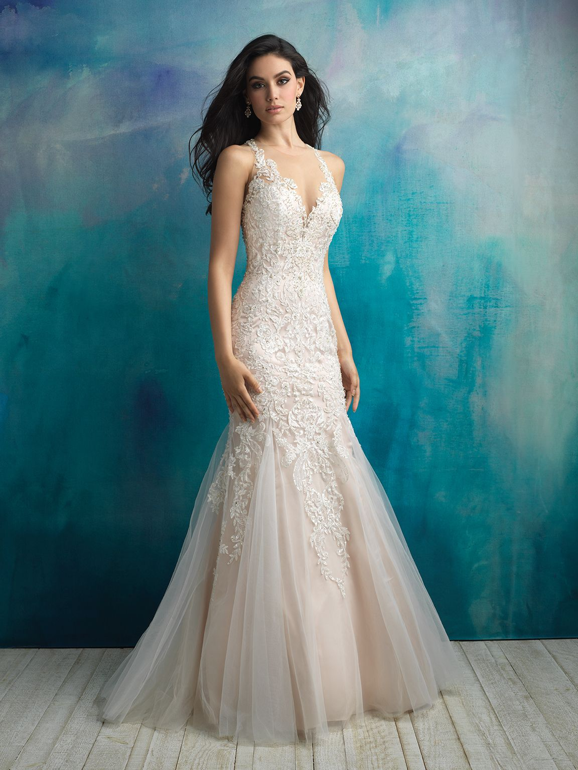 Style: 9511 Structured yet soft, this sleeveless gown is delicately ...