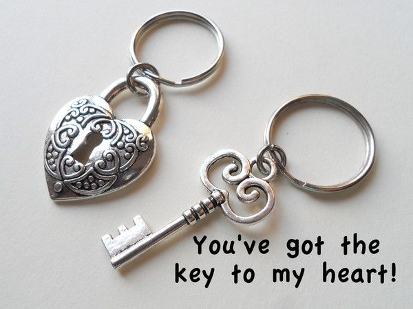 Large Key And Heart Lock Keychain Set You Ve Got The Key To My Heart Couples Keychain Set Keychain Set Husband Wife Gifts Keychain