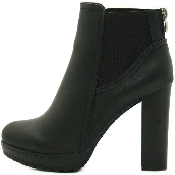 Kayla Shoes Chelsea Boots Plateau Stiefeletten mit Blockabsatz in Holzoptik  (37, Schwarz)