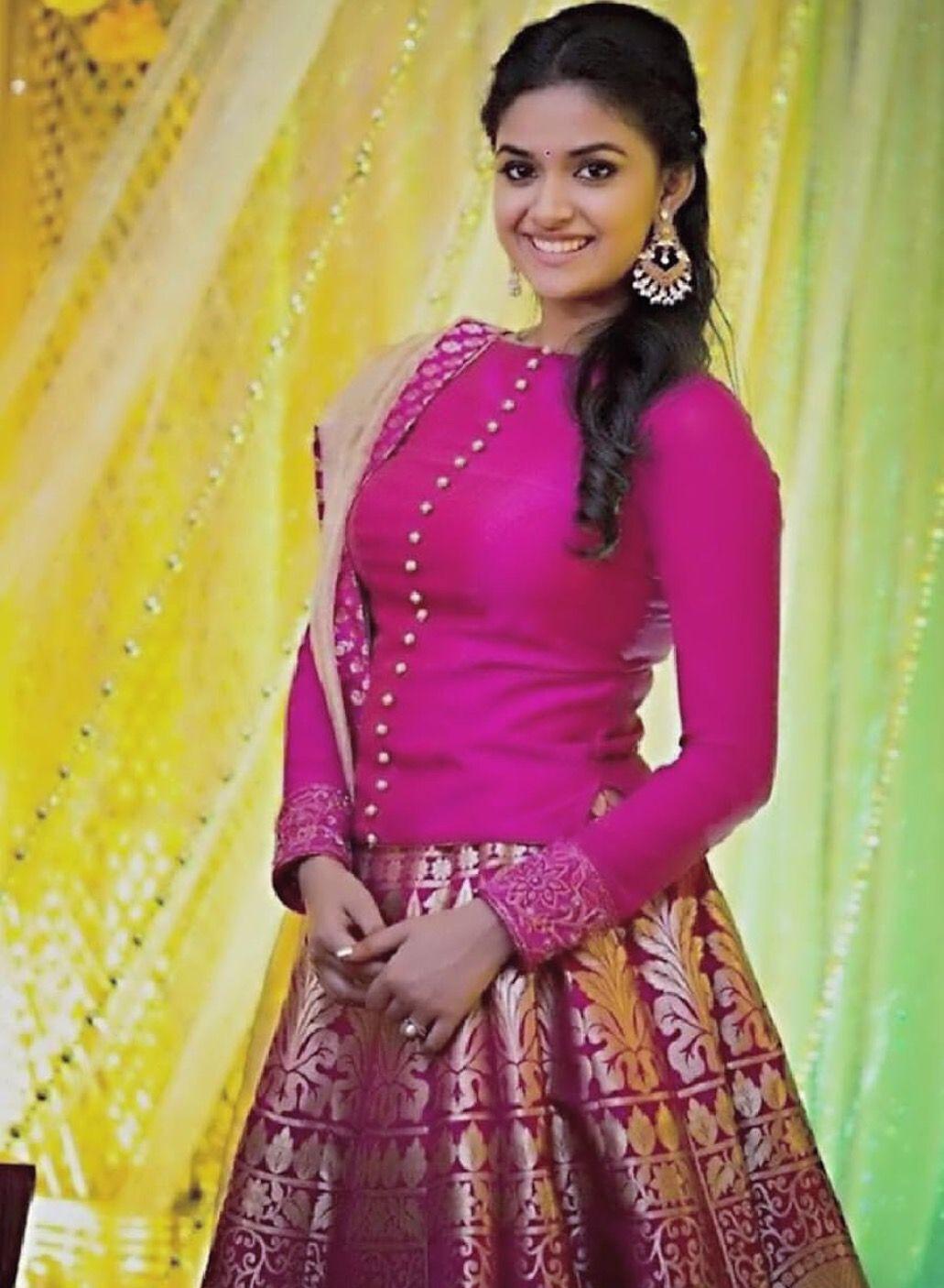Pin By Sharon Ruban On Keerthy Suresh Fashion Indian Designer Wear Lehenga Blouse Pattern