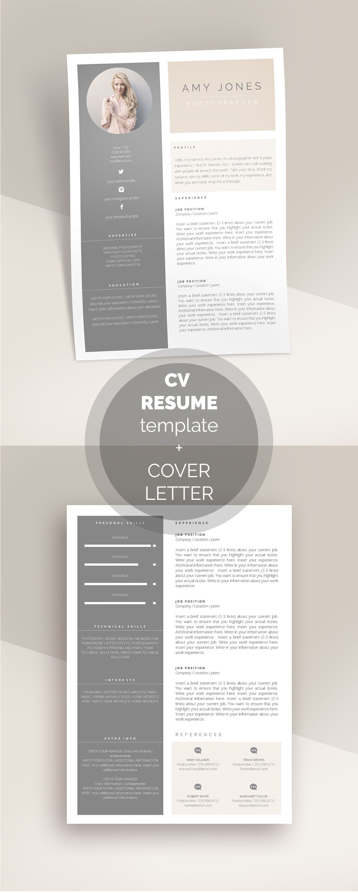 Resume Template For Pages Ms Word Cv Template With Photo Etsy Cv Resume Template Resume Template Resume Design Free Resume template with picture insert