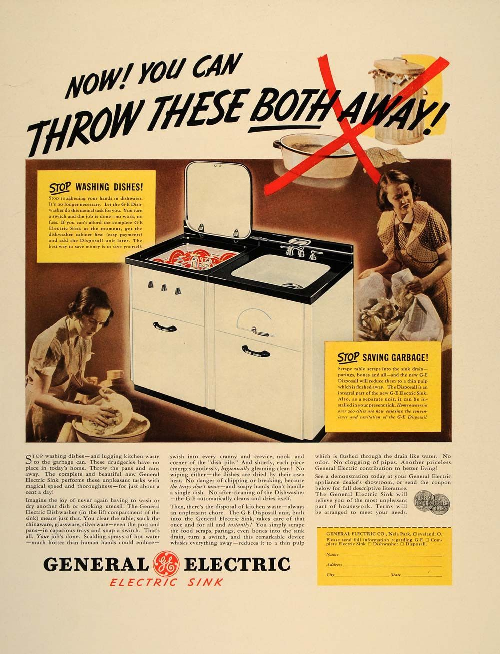 1937 Ad General Electric GE Dishwasher Sink Disposal