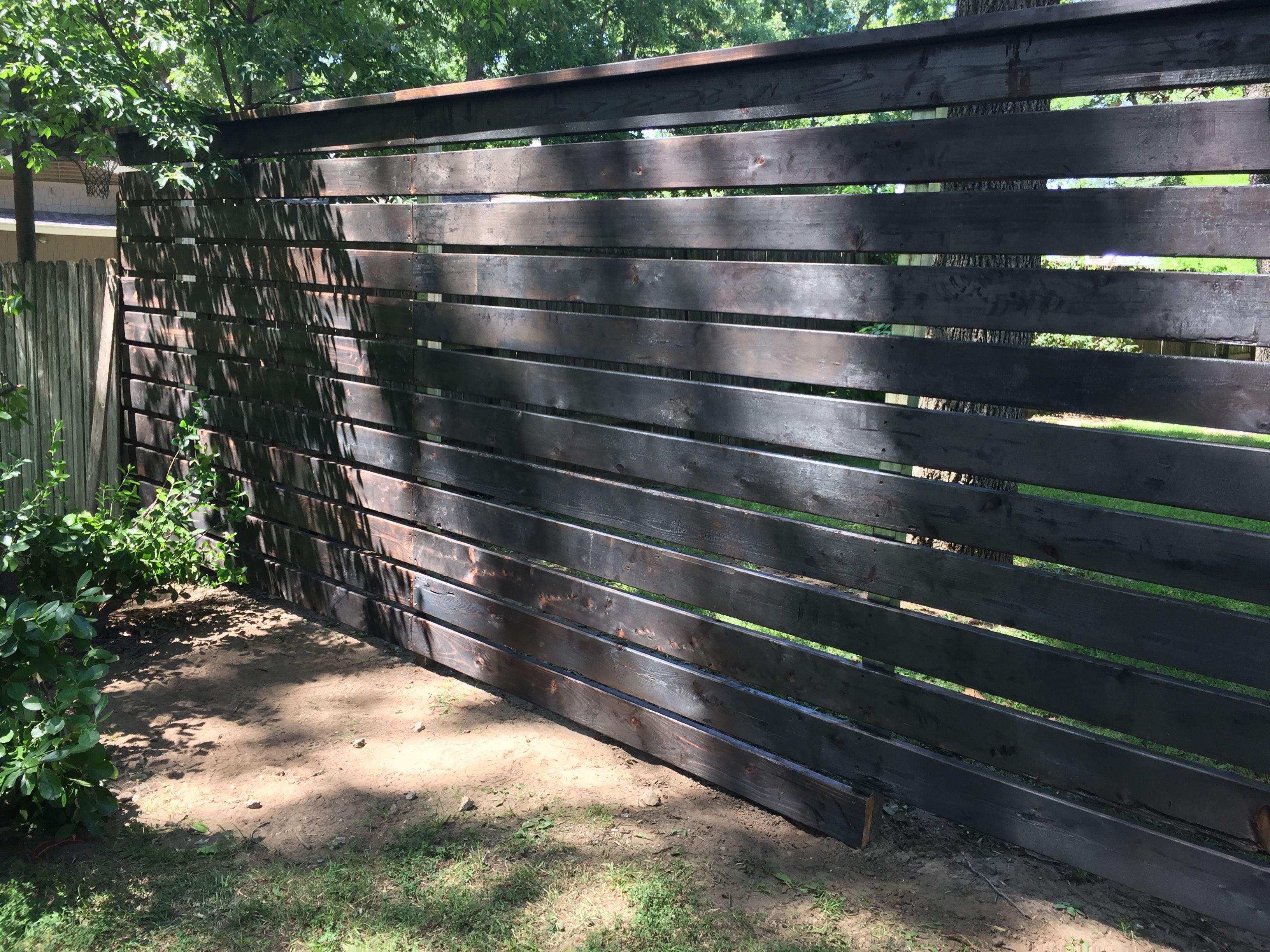 Shou Sugi Ban Horizontal Cedar Fence Used Steel Posts Pre Drilled And Screwed Each Board Into Posts One Inch Gaps B Backyard Fences Fence Design Cedar Fence