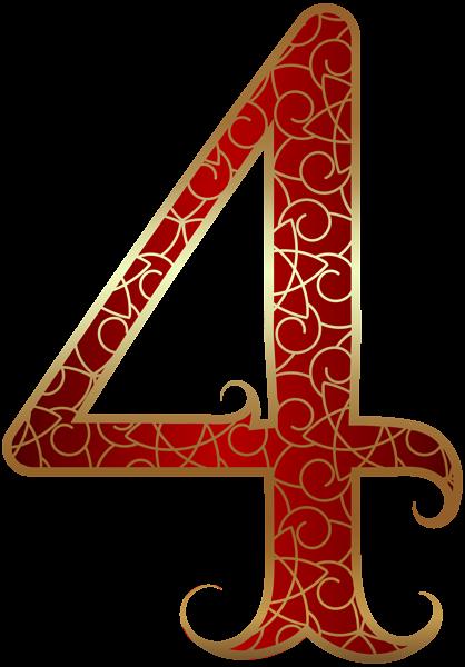 Gold Red Number Four Png Clip Art Image Art Images Clip Art Alphabet Letters Design