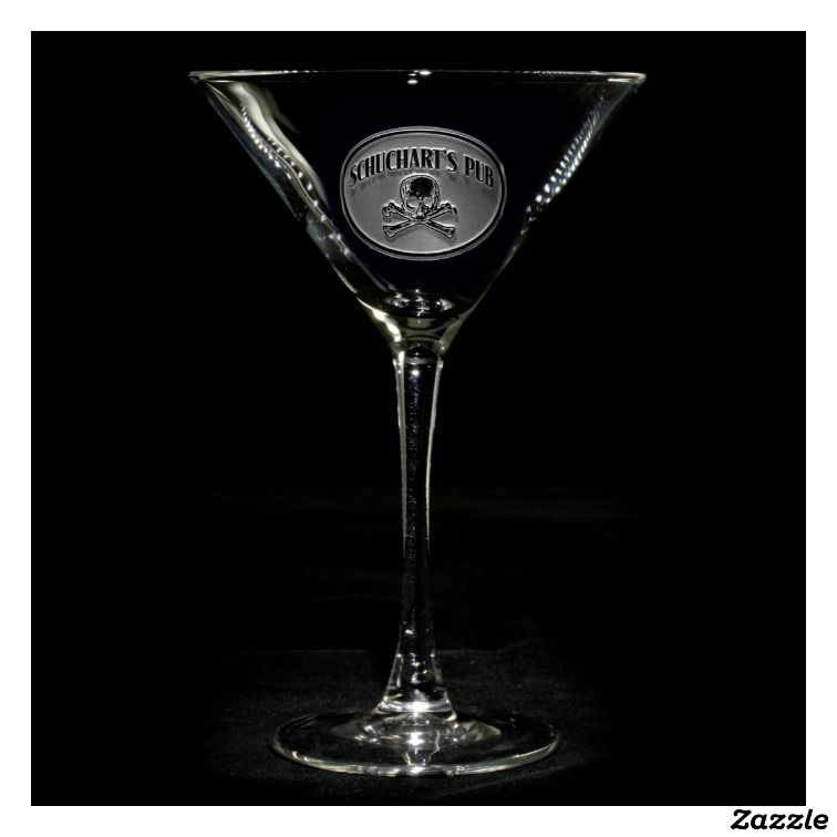 Skull and Bones Personalized Martini Glasses
