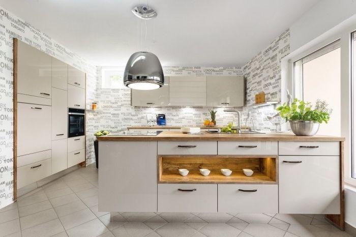 ▷ 1001 + modèles fascinants du duo cuisine blanche plan de travail bois - plan ilot central cuisine