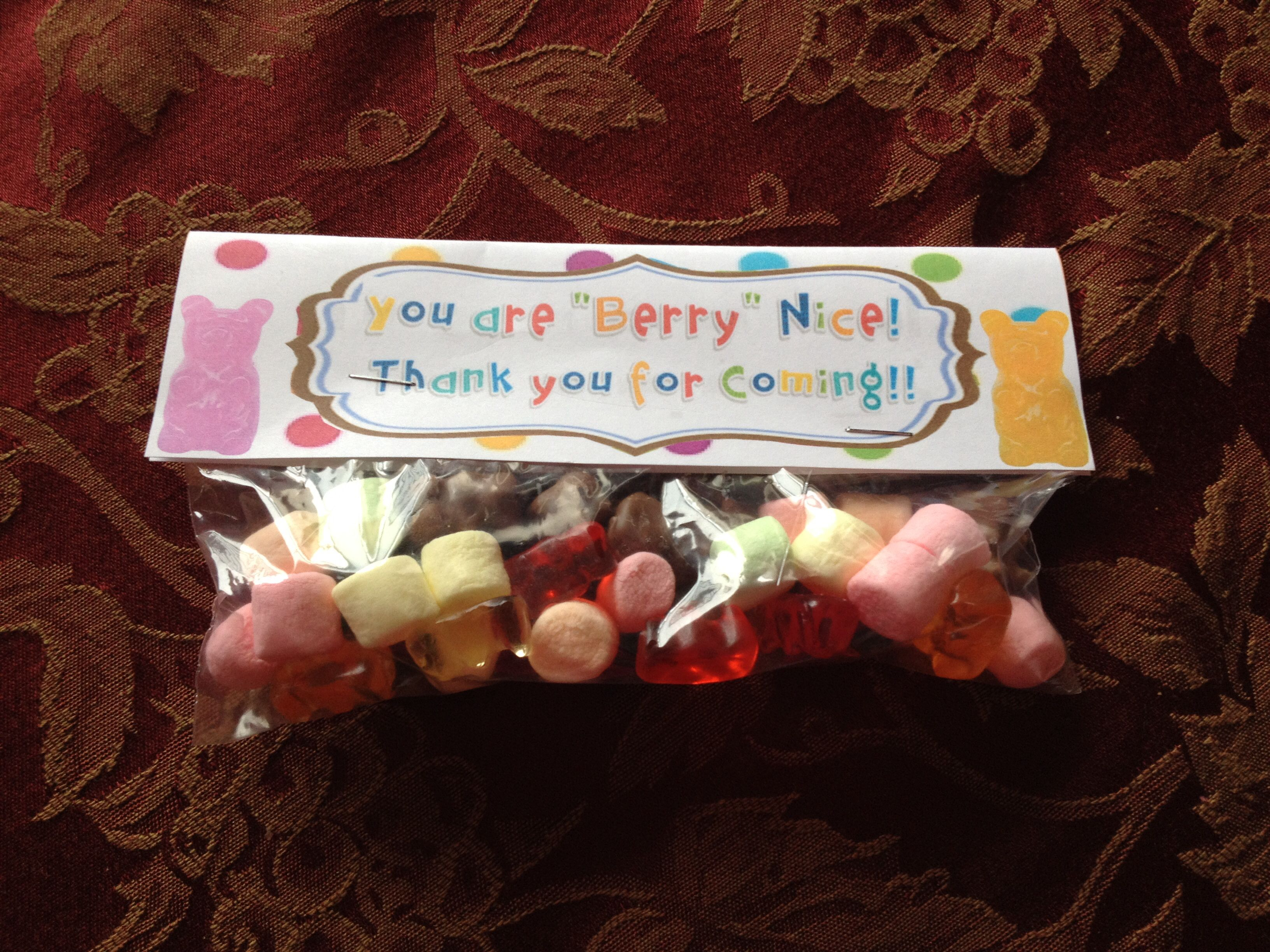 """"""" you are Beary nice- thank you for coming!""""  Treat bag from a birthday party with marshmallows, plain and chocolate covered gummy bears!"""