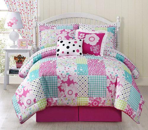 Girls teens 10 pc rosi pink flower polka dots patch full comforter girls teens 10 pc rosi pink flower polka dots patch full comforter bed in bag 9999 mightylinksfo