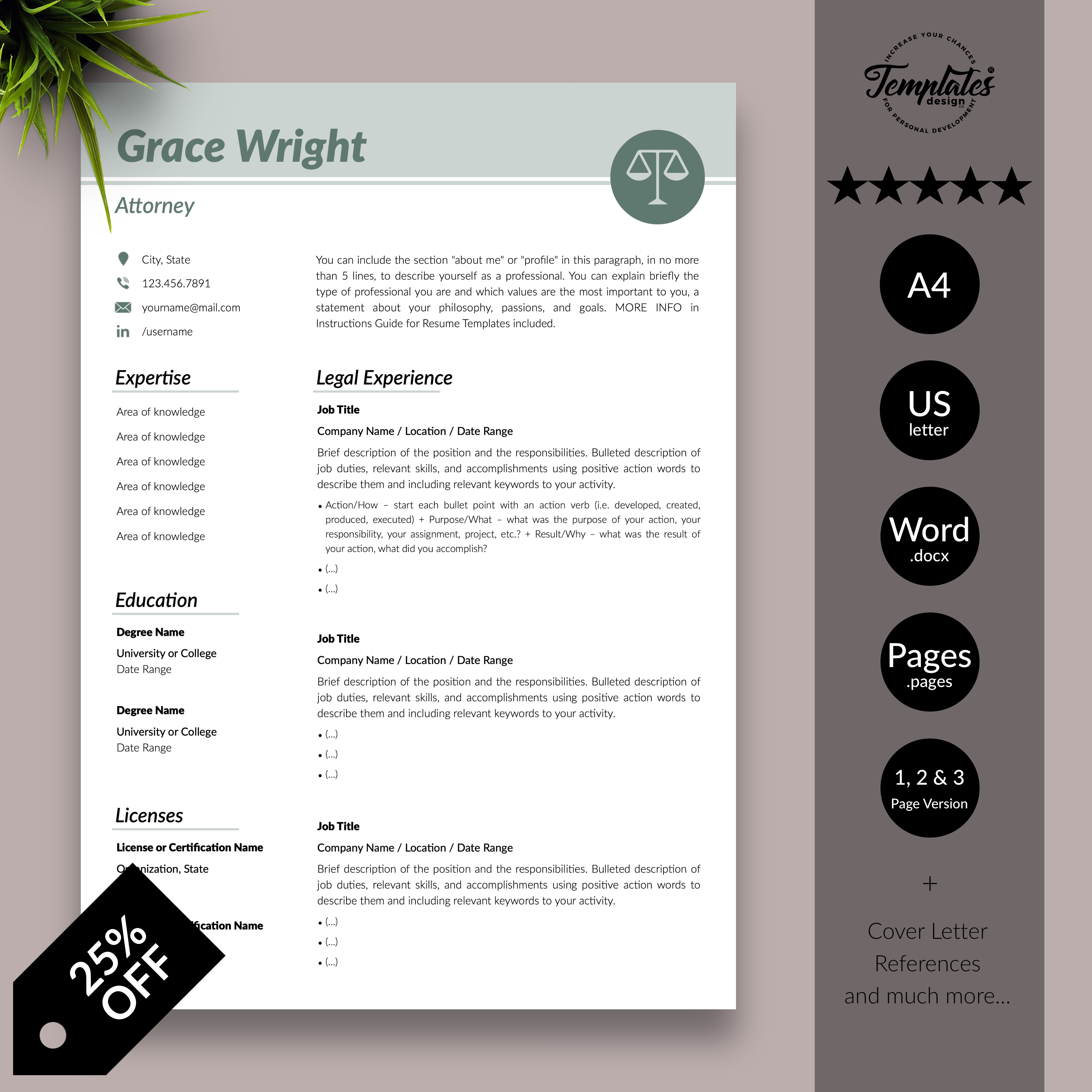 Legal Resume Template for Word & Pages / Professional