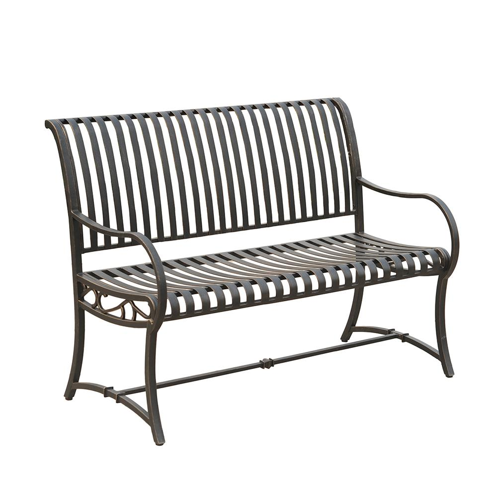 Slate Metal Bench L Pb136pst The Home Depot Metal Outdoor