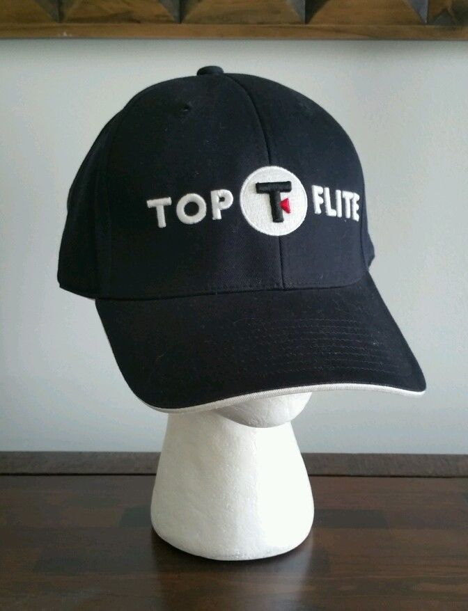 TOP FLITE Golf CAP Hat black with raised embroidered letters cotton Men s  size  TOPFLITE  BaseballCap 79e15c5c9df