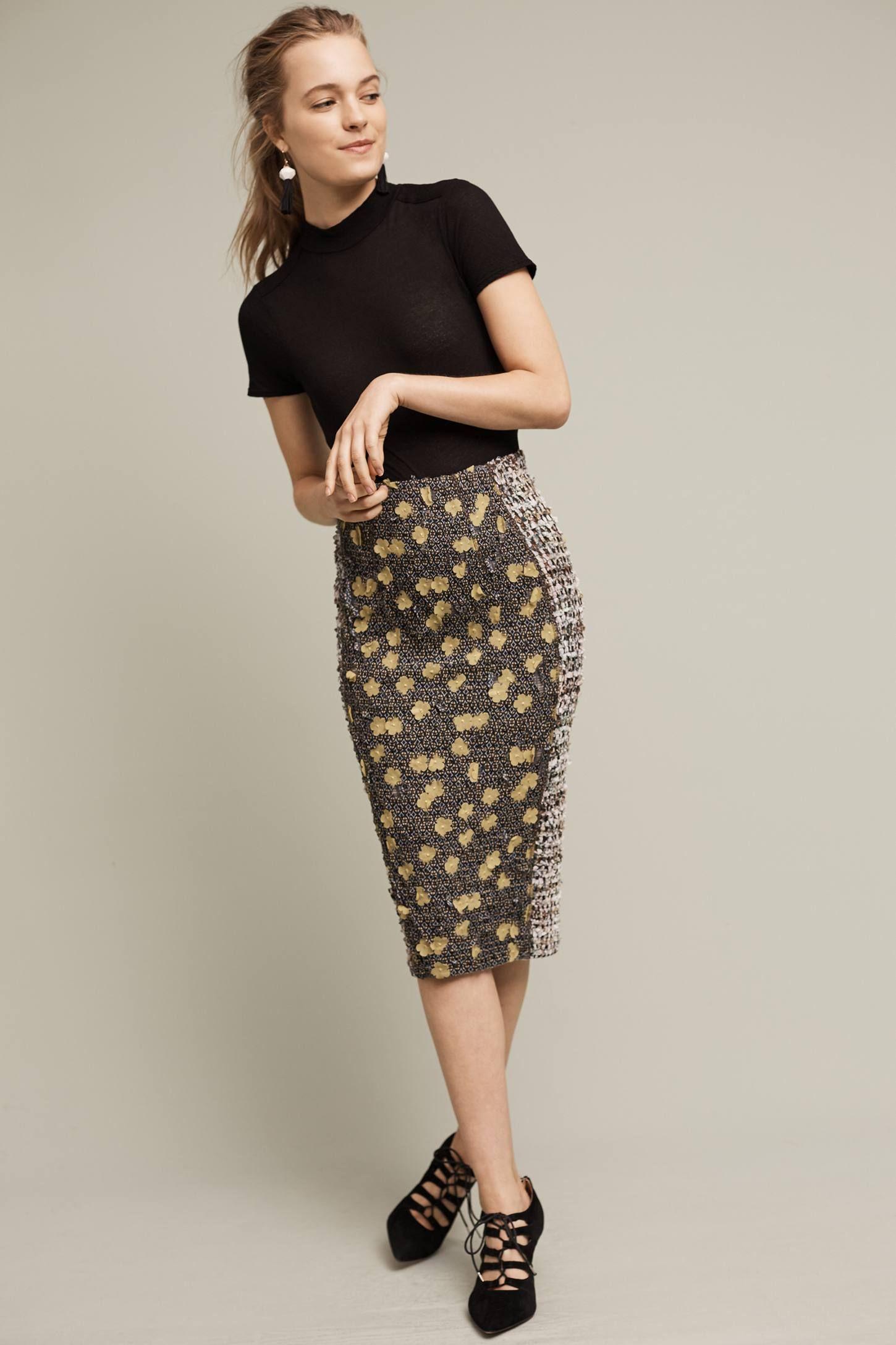 Poppies Pencil Skirt