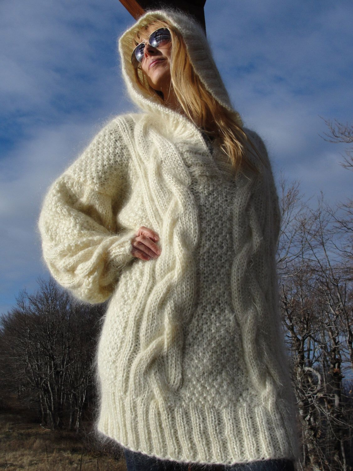 ORDER handmade hooded sweater mohair sweater hand knitted pullover ...