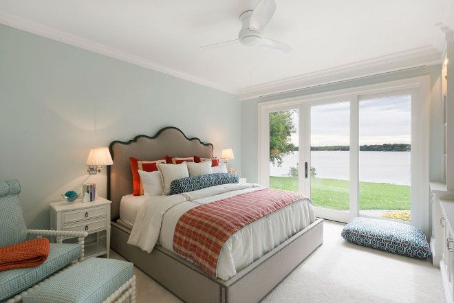 This Master Bedroom Is A Dream Take Look At That View Paint Color Benjamin Moore 866 Winter Ice Carpet Cotton Club Pearl Essence