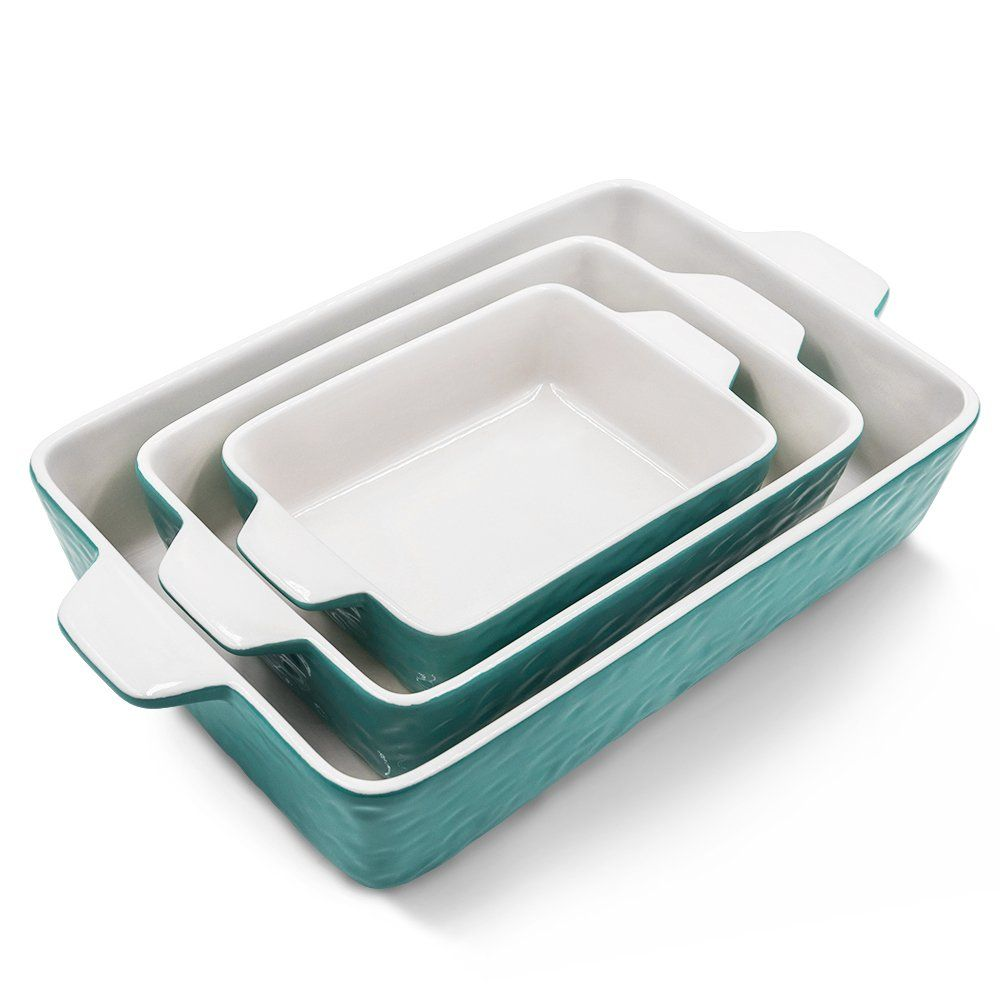 Bakeware Set Krokori Rectangular Baking Pan Ceramic Glaze Baking Dish For Cooking Kitchen Cake Din Baked Dishes Bakeware Set Cinnamon Roll French Toast Bake