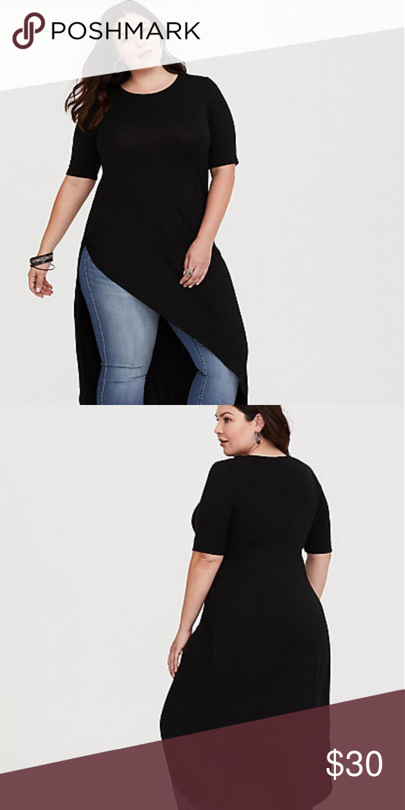 ec882764eba BLACK KNOTTED ASYMMETRICAL TUNIC This flattering and edgy asymmetric hem  gives a soft basic tunic a not-so-basic silhouette.