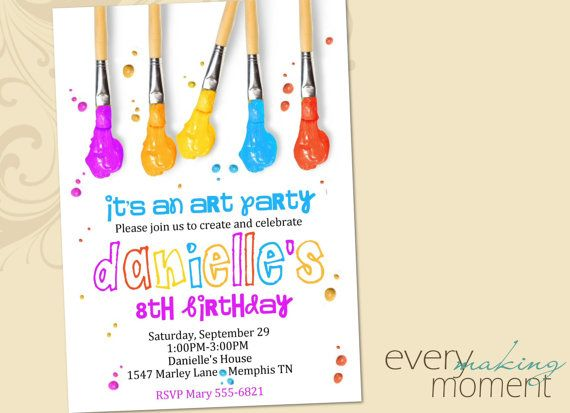 Art party birthday invitation painting party birthday invitation art party birthday invitation painting party birthday invitation printable custom personalized print yourself birthday invite filmwisefo