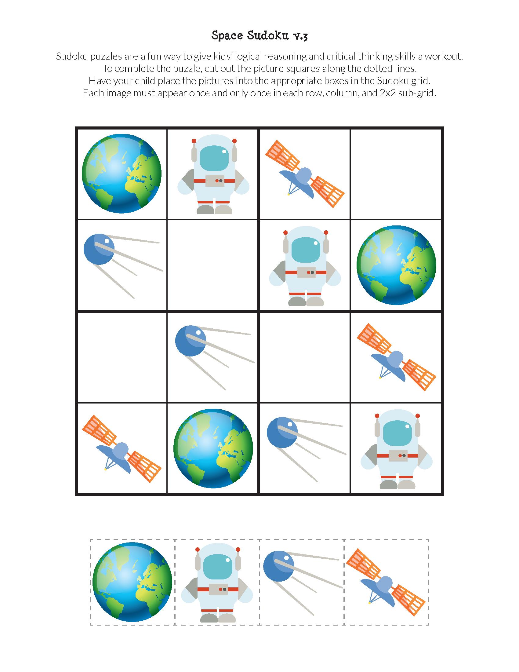 Space Sudoku Puzzles Free Printables