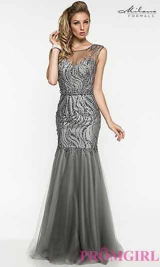 Gray Sweetheart Prom Dresses