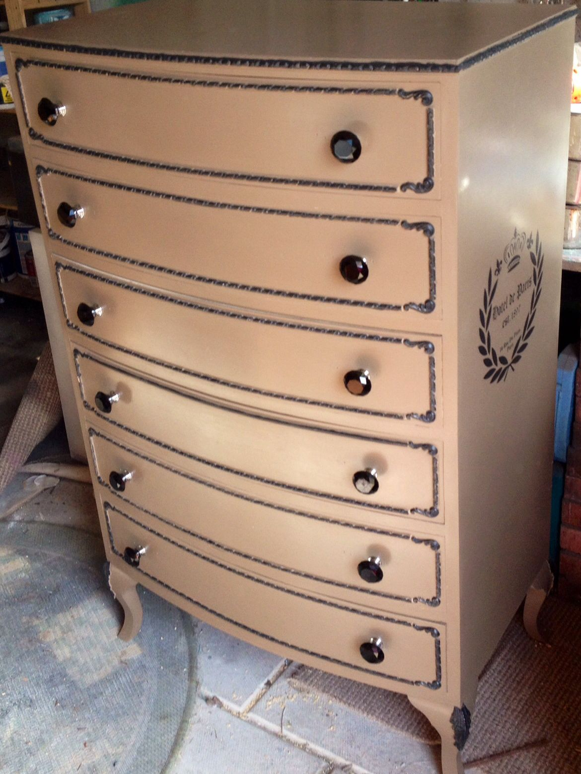 Tall six drawers chest painted in Clay autentico and nearly black with a French typography stencil and black glass handles . Painted by Home Revival follow us on twitter/Facebook or Pinterest :)