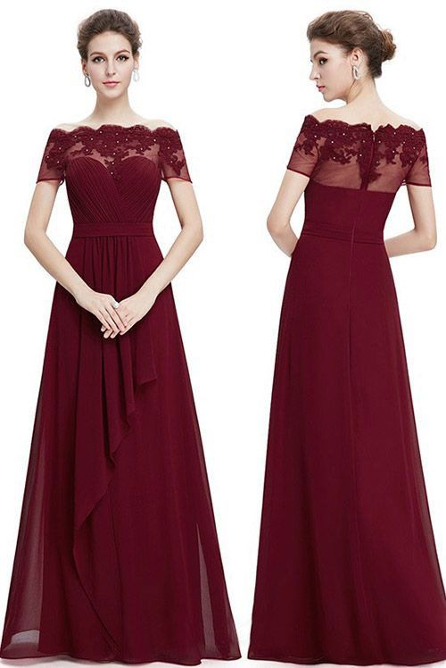 3911f67f5df Chiffon Burgundy Long Bridesmaid Dress with Lace Appliques for ...