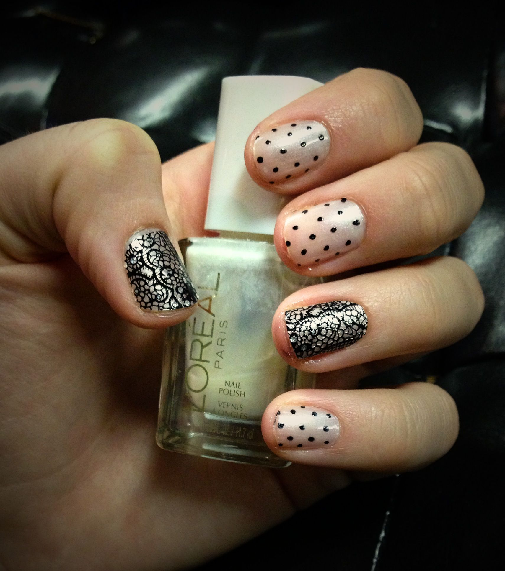 Lace printed nail stickers from Avon with L\'Oreal \'Satin Sheets\' on ...