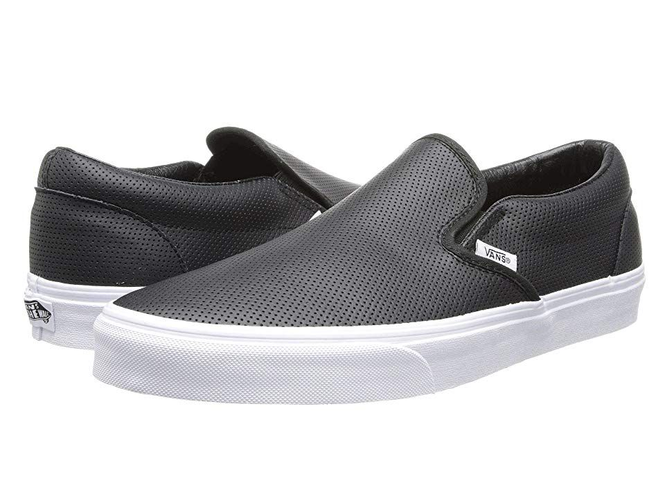 Vans Classic SlipOntm Core Classics Perf Leather Black Shoes The shoe that started it all the iconic Vans Classic SlipOn Core Classics shoe A slipon deck shoe with Vans c...