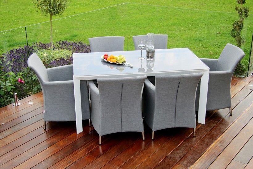 Soul 6 Seat Dining Set - Fabric Range | Maze Rattan Devane Divano ...