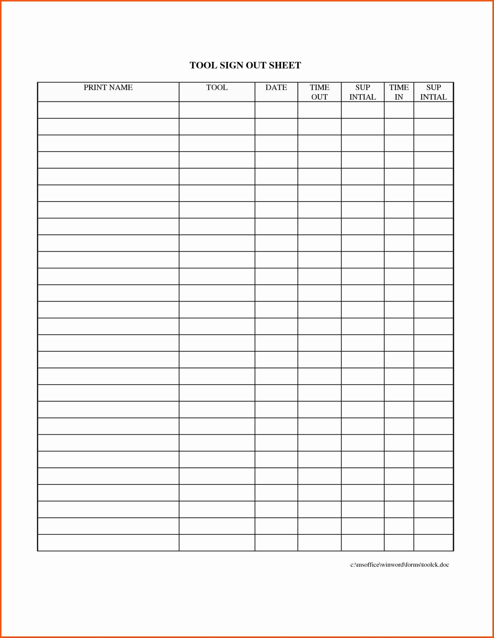 Image Result For Free Tool Room Sign Out Sheet