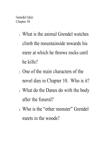 Grendel Quiz Chapter 10 Free Document Download For Teacher Documentation Resource Hill Like White Elephant Analysi Essay Character